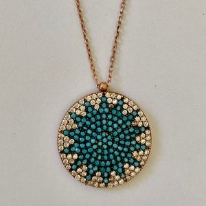 Jewelry - 925 Silver blue sun necklace cz turquoise stones
